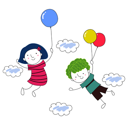 drawed:   Save Download Preview     boy and girl with balloon