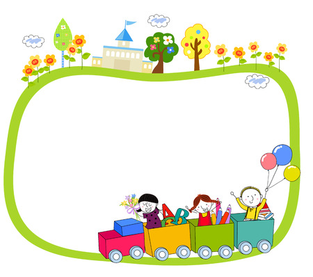 Children and train Illustration