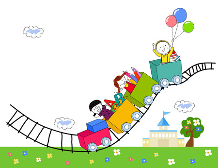 Children and train Vector