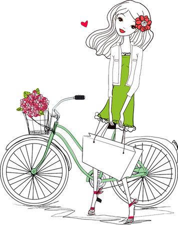 Girl and bike Stock fotó - 33943606