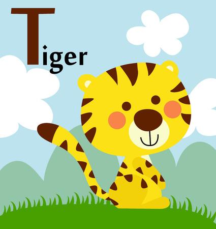 Tieralphabet für die Kinder T für den Tiger Standard-Bild - 30726615