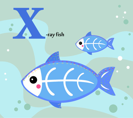 tetra fish: Animal alphabet for the kids  X for the X-ray fish Illustration