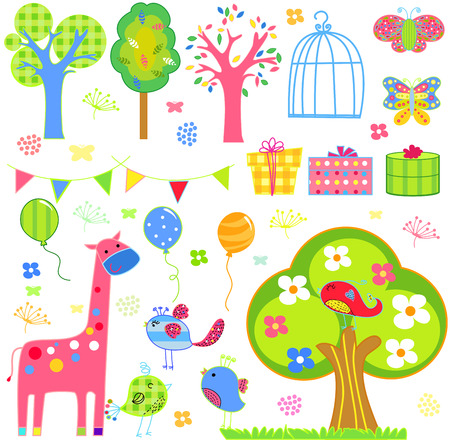 flower tree butterfly and birds Vector