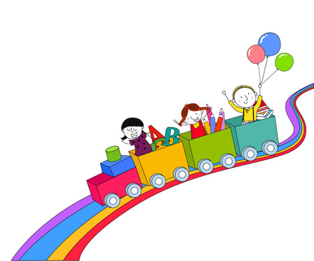 rollercoaster: Children and train Illustration