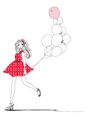 Modeschets meisje met ballonnen