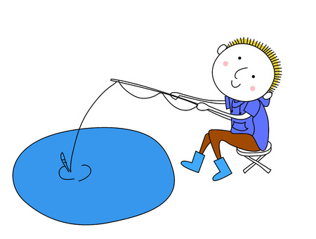 Fishing boy Vector