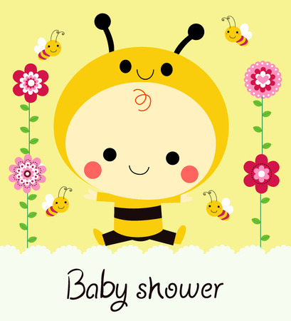 bumble bee: Baby shower Illustration