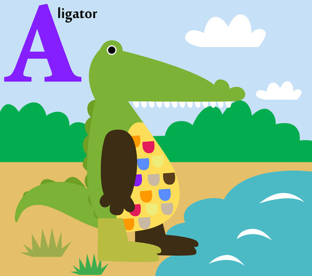 computer mascot: Animal alphabet for the kids  A for the Alligator