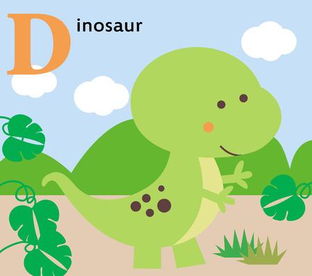 Animal alphabet for the kids  D for the Dinosaur Vector
