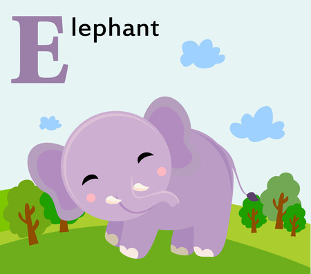 Animal alphabet for the kids  E for the Elephant Vector