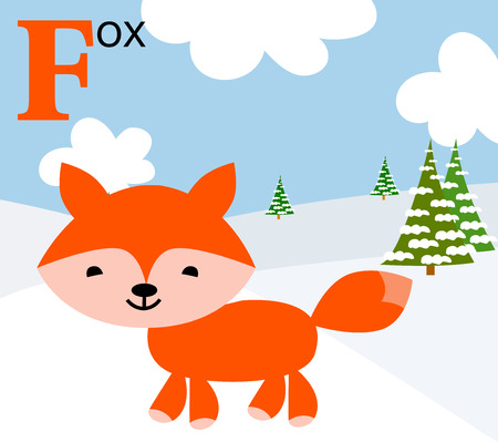 Animal alphabet for the kids  F for the Fox Vector