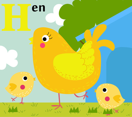 Animal alphabet for the kids  H for the Hen Ilustracja