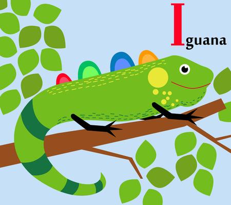 Animal alphabet for the kids  I for the Iguana Vector