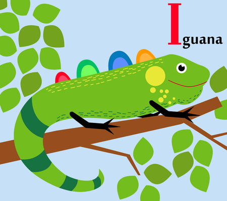 Animal alphabet for the kids  I for the Iguana Ilustracja