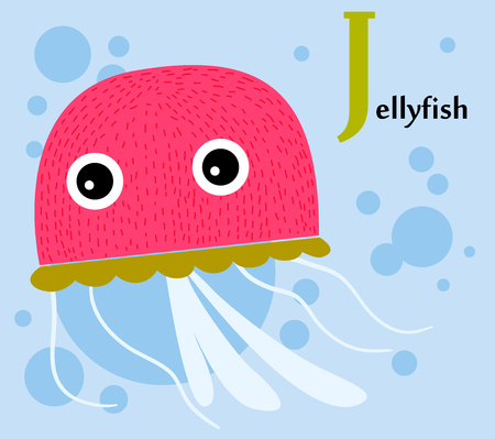Animal alphabet for the kids  J for the Jellyfish Ilustracja