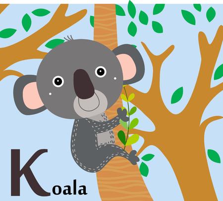 Animal alphabet for the kids  K for the Koala Illustration