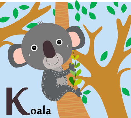 Animal alphabet for the kids  K for the Koala Stock Illustratie