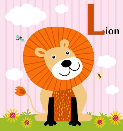alfabeto con animales: Alfabeto de animales para los niños L para el león Vectores
