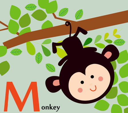Animal alphabet for the kids  M for the Monkey Ilustracja
