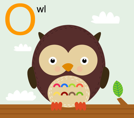 Animal alphabet for the kids  O for the Owl Ilustracja