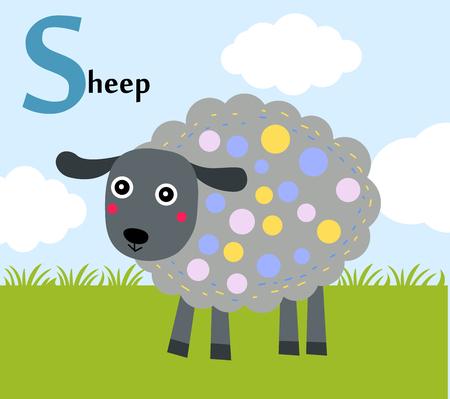 children s art: Animal alphabet for the kids S for the Sheep