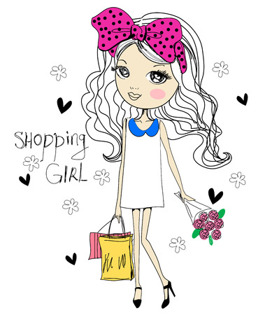 girl shirt: Shopping girl