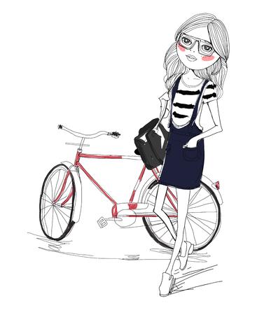bike riding: Fashion girl and bike