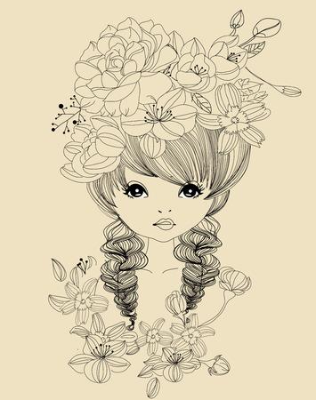 Hübsches Mädchen und Blume Standard-Bild - 30726780