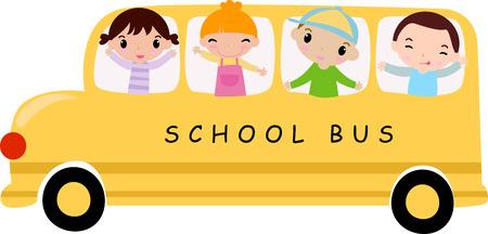 autobus escolar: Autobús y los niños School-ilustración de arte