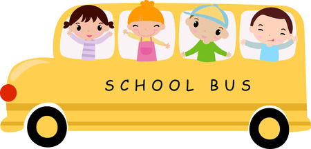 School bus and children -Illustration art Stock Illustratie