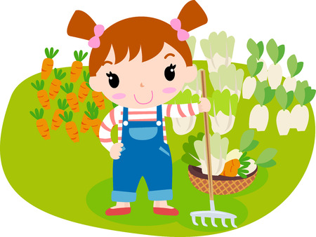 Cute girl and vegetable