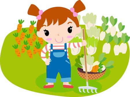 Nettes Mädchen und Gemüse Standard-Bild - 30726789