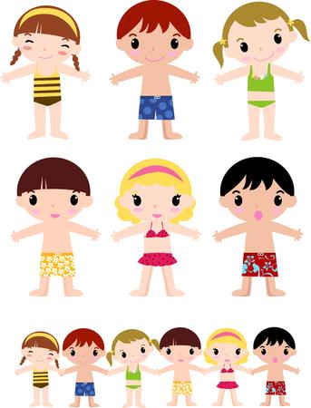 enfant maillot de bain: groupe de petits enfants mignons de l'été