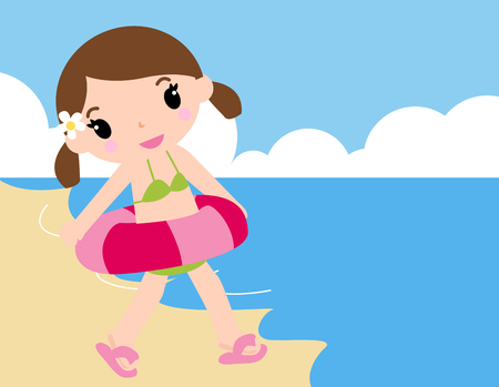 enfant maillot de bain: Fille � la plage Illustration