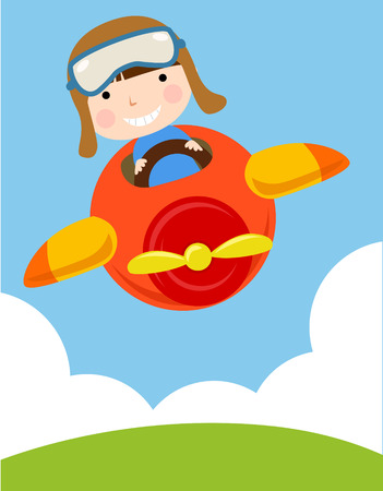 a cute boy flying a plane Vector