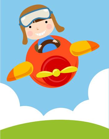 pilot cockpit: a cute boy flying a plane