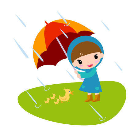 drizzle: a little girl and duck under umbrella
