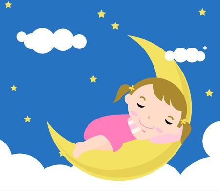 estrella caricatura: Beb� ni�a durmiendo Vectores