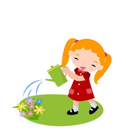 regar las plantas: Guardar descarga Vista previa de una linda niña regar las flores