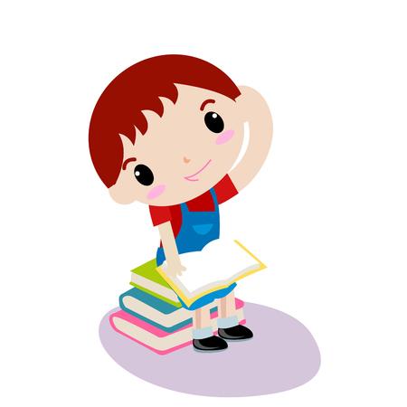 preschooler: Cute boy reading book Illustration