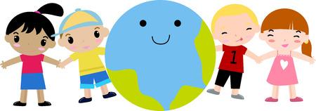 planeta tierra feliz: Niños y tierra felices Vectores