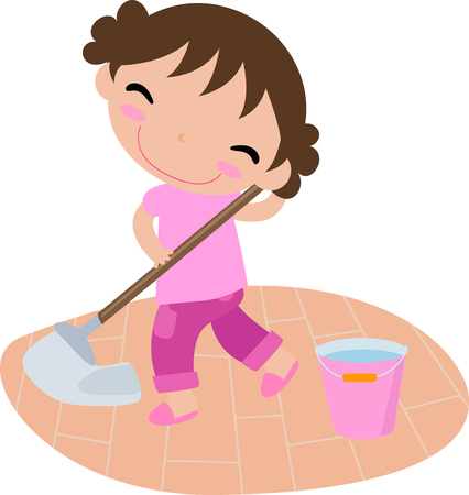 porter: Cute cleaning girl Illustration