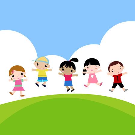 cartooned: Five jumping kids Illustration
