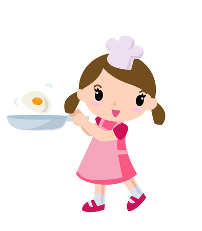 A cute cook girl Vector