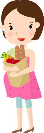 pot belly: Pregnant with supermarket bag Illustration