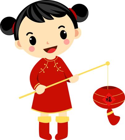 cartoon little girl: A chinese girl and her beautiful lantern