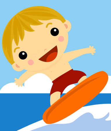 wind surfing: Boy Surfer on the wave Illustration