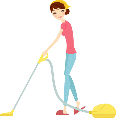 vacuuming: llustration of isolated woman using vacuum cleaner