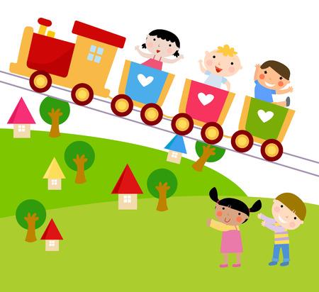 tren caricatura: Niños en el tren agitando sus manos Vectores