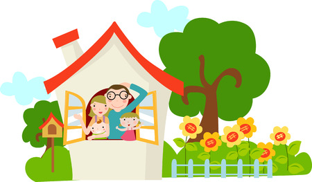 family in front of house: Happy Family with two children
